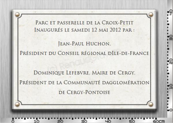 Cette plaque inaugurale est un pierre naturelle gravée.