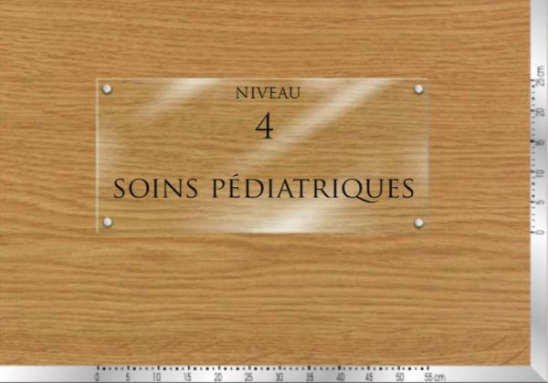 plaque signal tique int rieur en verre grav. Black Bedroom Furniture Sets. Home Design Ideas