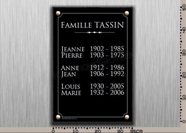 Plaque à fixer sur le monument funéraire.