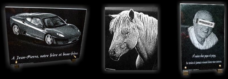 Voiture gravée sur une plaque de deuil, cheval représenté sur une plaque de cimetière, photo portrait gravé sur une plaque de funérailles.