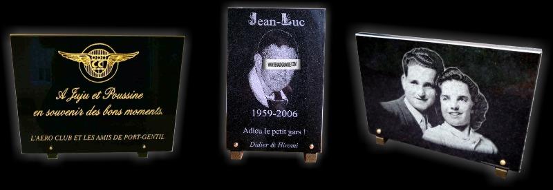 Graveur sur pierre, portrait funéraire et plaque en verre ou en granit noir d'afrique pour poser ou fixer en cimetière.