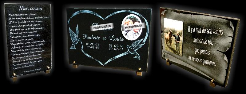 Parchemin et coeur gravés sur plaques pour monuments funéraires