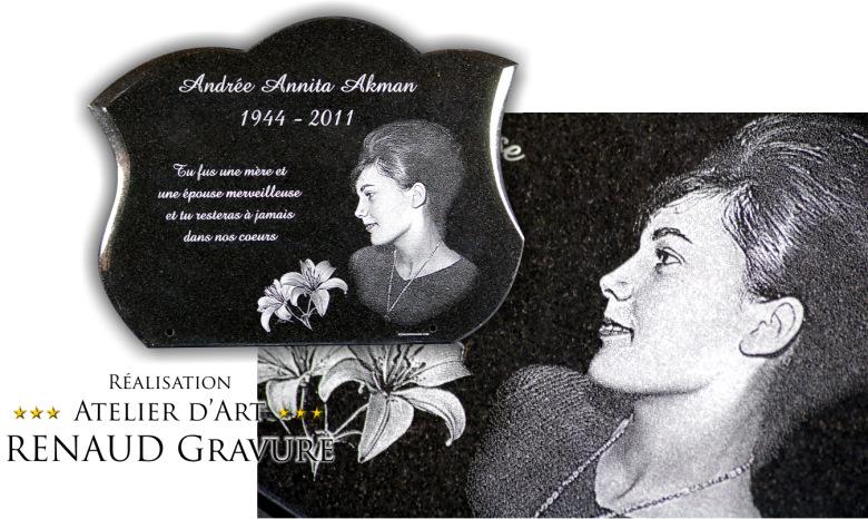 Plaque funéraire avec photo